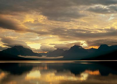 mountains, clouds, nature, McDonald Lake, Glacier National Park - random desktop wallpaper