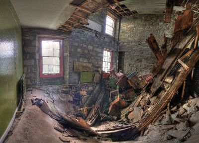 fisheye effect, abandoned house, collapse - random desktop wallpaper