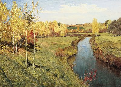 paintings, landscapes, autumn, streams, artwork, Isaac Levitan - related desktop wallpaper