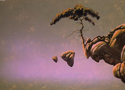 trees, rocks, Roger Dean, artwork - random desktop wallpaper