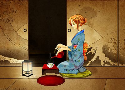 dress, indoors, tea, One Piece (anime), socks, kimono, lanterns, short hair, pillows, sitting, Asian architecture, closed eyes, orange eyes, blue dress, Japanese clothes, anime girls, hair bun, kettle, Japanese architecture, Nami (One Piece) - random desktop wallpaper