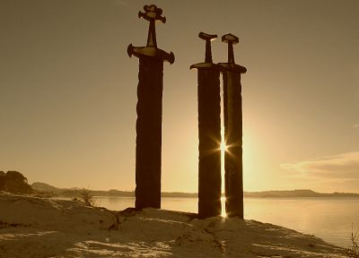 sunset, swords, Norse, viking swords - random desktop wallpaper