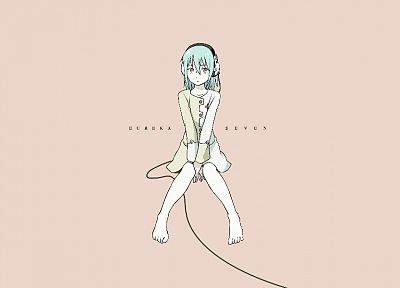 headphones, Eureka Seven, text, Eureka (character), short hair, anime, pink eyes, anime girls - desktop wallpaper