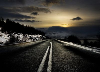 clouds, landscapes, nature, winter, roads, snow landscapes - desktop wallpaper