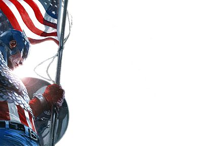 Captain America, superheroes, Marvel Comics, American Flag, white background - related desktop wallpaper