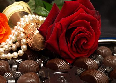 chocolate, food, sweets (candies), roses - random desktop wallpaper