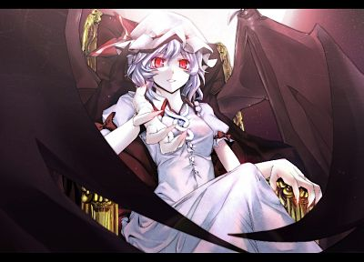 video games, Touhou, wings, red eyes, Remilia Scarlet, vampire - desktop wallpaper