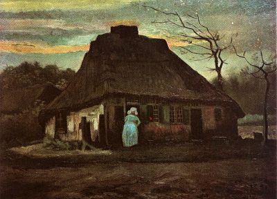 paintings, old, Vincent Van Gogh, artwork, evening, cottage - related desktop wallpaper