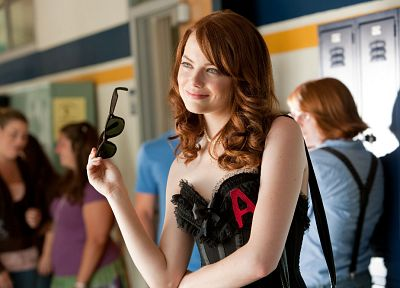 women, black, movies, dress, actress, redheads, glasses, Emma Stone, Easy A - related desktop wallpaper
