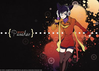 headphones, music, nekomimi, Loveless, cat ears, anime, anime boys, Ritsuka Aoyagi, scarfs - random desktop wallpaper