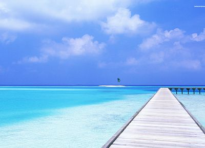 water, blue, ocean, clouds, sand, trees, dock, skyscapes - related desktop wallpaper
