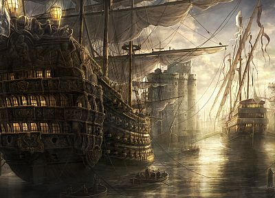 ships, artwork, vehicles, drawings, Empire: Total War, Radojavor - random desktop wallpaper