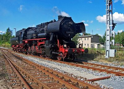Germany, trains, railroad tracks, steam engine, vehicles, locomotives, steam locomotives, BR52, 2-10-0 - desktop wallpaper