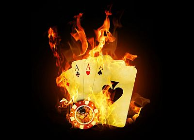 cards, flames, fire, black background - desktop wallpaper