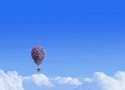 blue, clouds, Pixar, movies, floating, houses, Up (movie), balloons, skies - related desktop wallpaper