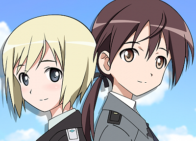 brunettes, blondes, clouds, Strike Witches, uniforms, army, military, blue eyes, long hair, brown eyes, short hair, blush, ponytails, Erica Hartmann, Gertrud Barkhorn, anime girls, faces, hair ornaments, skies, back to back - desktop wallpaper
