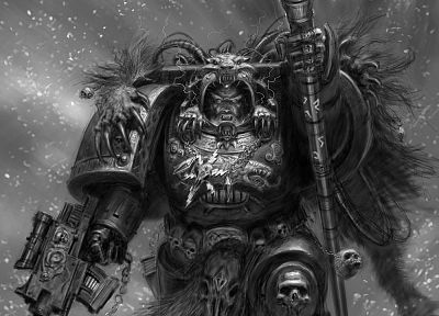 space marines, concept art, Adrian Smith, Space Wolf - random desktop wallpaper