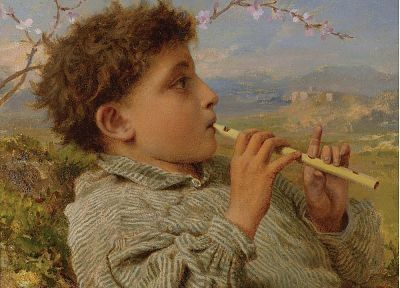 paintings, shepherd, pipes, Sophie Gengembre Anderson, portraits - related desktop wallpaper