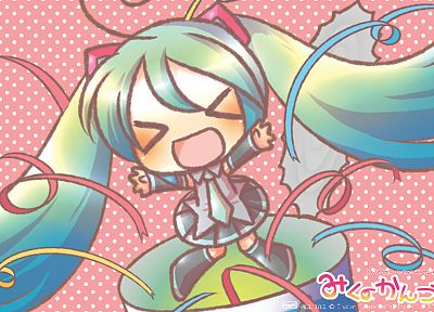 Vocaloid, Hatsune Miku, chibi, detached sleeves - desktop wallpaper