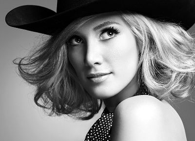 Delta Goodrem, grayscale, singers, monochrome, Australian, cowboy hats - related desktop wallpaper