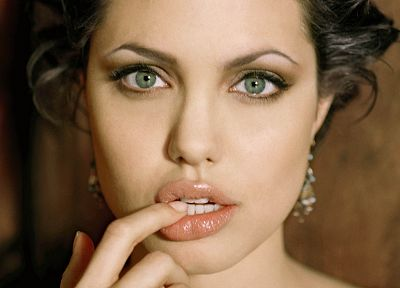 women, actress, Angelina Jolie, celebrity, green eyes, faces - related desktop wallpaper