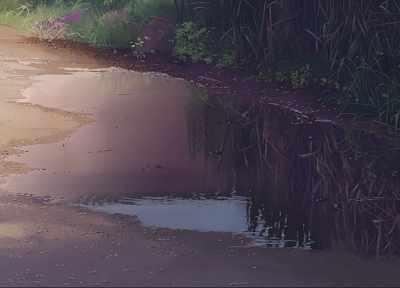 Makoto Shinkai, 5 Centimeters Per Second, artwork, anime, reflections, puddles - related desktop wallpaper