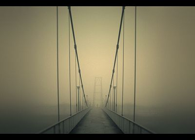 fog, bridges - duplicate desktop wallpaper