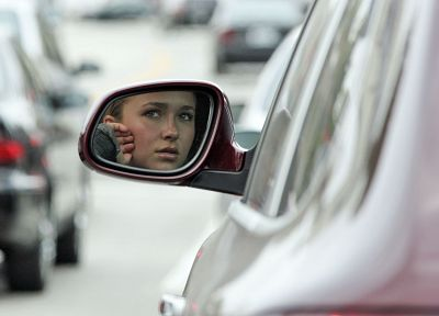 women, cars, Hayden Panettiere, celebrity, side car mirror - desktop wallpaper