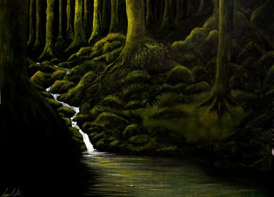 green, paintings, dark, forests, artwork, rivers - random desktop wallpaper
