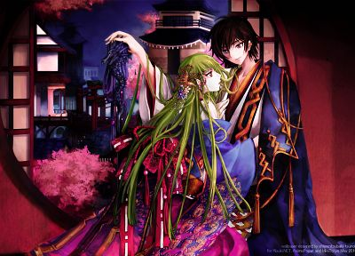 Code Geass, Lamperouge Lelouch, C.C., Japanese clothes - random desktop wallpaper