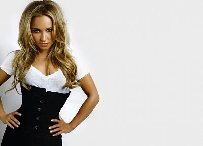blondes, women, actress, Hayden Panettiere, models, celebrity, white background, hands on hips - desktop wallpaper