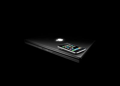 Apple Inc., iPhone, black background - random desktop wallpaper