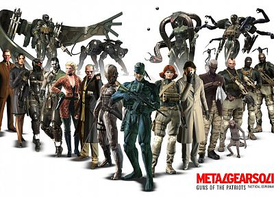 women, video games, men, old snake, science fiction, assault rifle, Raiden, monkeys, Revolver Ocelot, white background, Metal Gear Solid 4, Liquid Snake - related desktop wallpaper