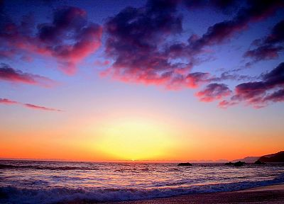 sunset, sunrise, ocean, clouds, night, seaside, skyscapes, skies, beaches - random desktop wallpaper