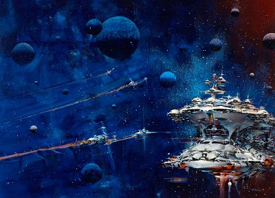 outer space, futuristic, planets, fantasy art, spaceships, space station, digital art, science fiction, artwork - desktop wallpaper
