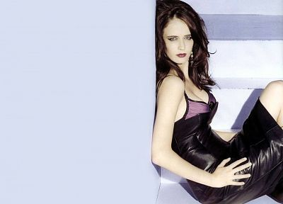 leather, brunettes, women, Eva Green - random desktop wallpaper