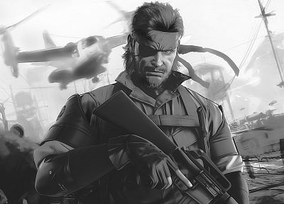video games, Metal Gear Solid, monochrome, artwork, Peace Walker, Big Boss - related desktop wallpaper