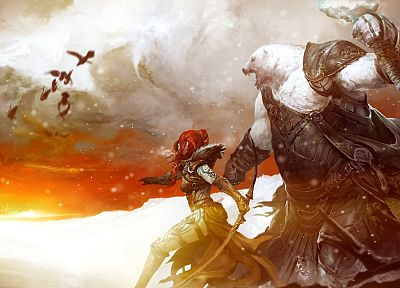 fantasy art, armor, bows, artwork, Guild Wars 2 - related desktop wallpaper