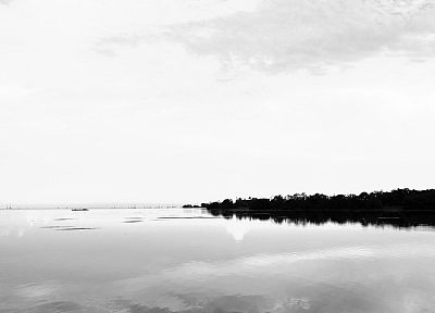 water, ocean, black, white, ships, islands, monochrome, bay, skyscapes - related desktop wallpaper