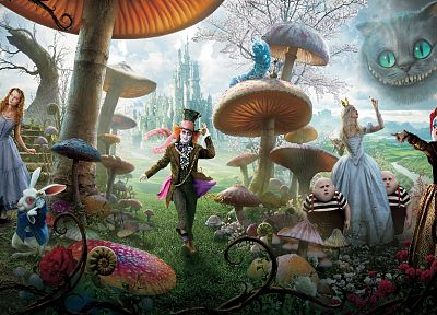 Alice in Wonderland, White Queen, Mad Hatter, Mia Wasikowska, Queen of Hearts, Cheshire Cat, white rabbit - related desktop wallpaper