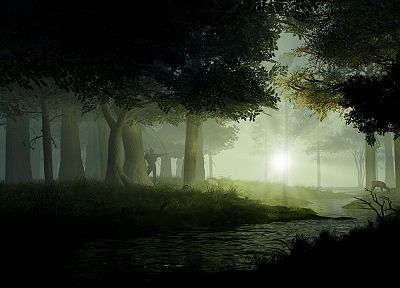 nature, forests, fog, 3D - desktop wallpaper