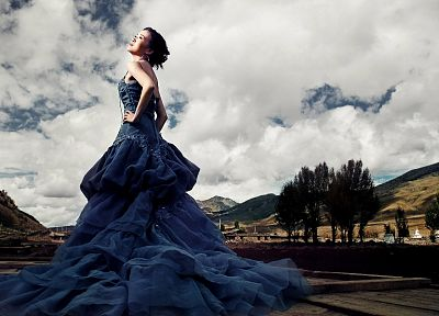 women, trees, Asians, blue dress - random desktop wallpaper