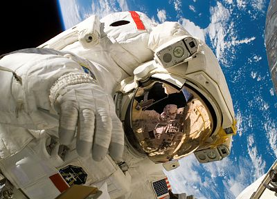 outer space, Earth, astronauts, space walk - random desktop wallpaper