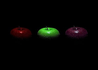 fruits, moist, apples, black background - desktop wallpaper
