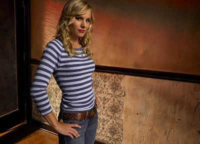 blondes, women, jeans, Kristen Bell, actress, celebrity, striped clothing - related desktop wallpaper