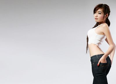 jeans, Elly Tran Ha, simple background - random desktop wallpaper