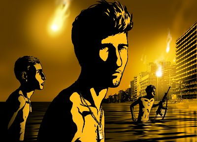 guns, buildings, Waltz with Bashir, dogtags, sea - desktop wallpaper