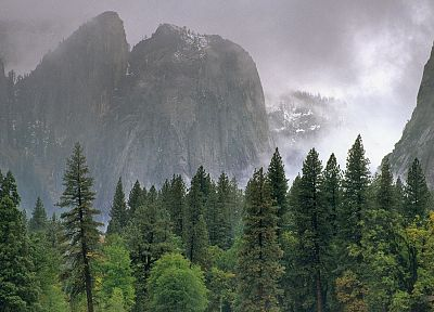 clouds, rain, valleys, California, National Park, Yosemite National Park - random desktop wallpaper