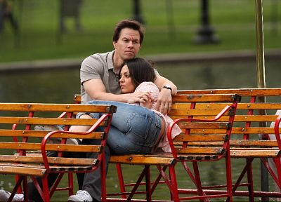 jeans, Mila Kunis, actress, ass, bench, actors, Mark Wahlberg, Ted (movie) - random desktop wallpaper