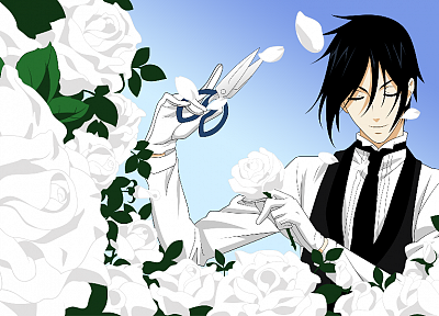 brunettes, flowers, scissors, Kuroshitsuji, Sebastian Michaelis, anime - desktop wallpaper